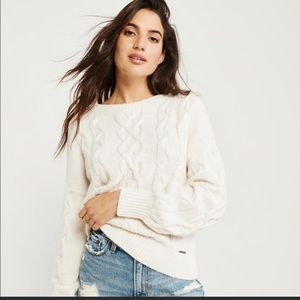 Abercrombie & Fitch Cable Crew Sweater Off White